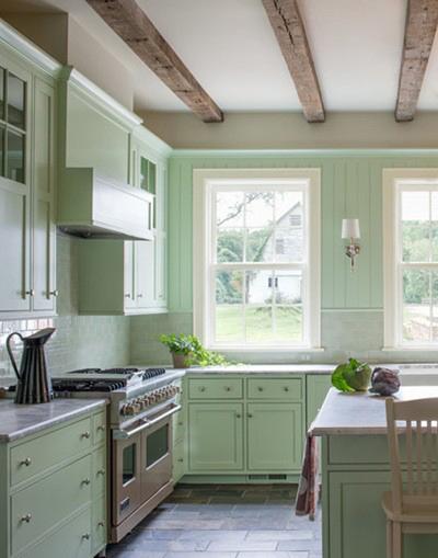 نعنایی کمرنگ که سبزی کمی کدر و کمرنگ است برای آشپزخانه بسیار مناسب هستند